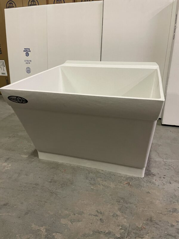 Durastone laundry tub with scrub board front view.