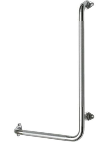 Angle Chrome Grab Bar – 1″ dia., Knurled Grip