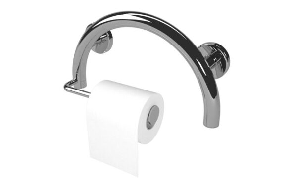 Arched grab bar with toilet paper holder.