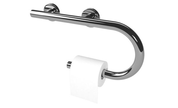 Grab bar with toilet paper holder.