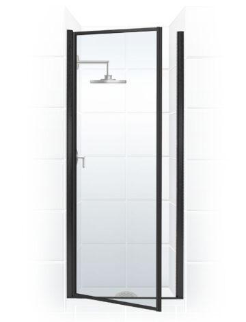 32″ Pivot Door – Clear Glass & Black Bronze