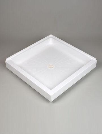 34″x 34″ Corner Shower Base, Double Threshold – White