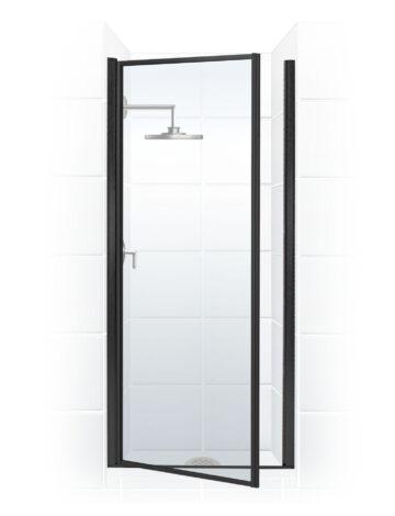 36″ Pivot Door – Clear Glass & Black Bronze
