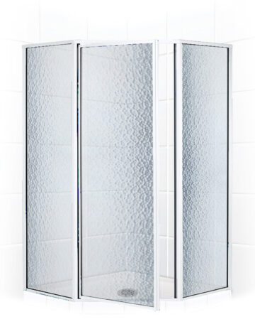 36″ Neo-Angle Shower Enclosure – Obscure Glass w/ Silver Trim