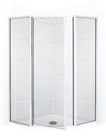 36″ Neo-Angle Shower Enclosure – Clear Glass w/ Silver Trim