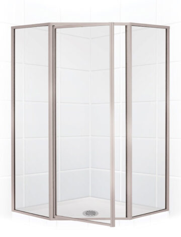 36″ Neo-Angle Shower Enclosure – Clear Glass w/ Brushed Nickel