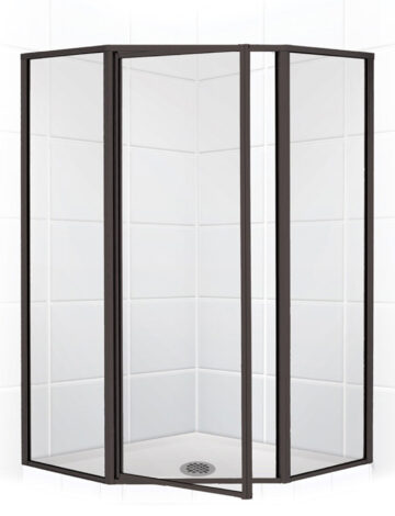 36″ Neo-Angle Shower Enclosure – Clear Glass w/ Black Bronze
