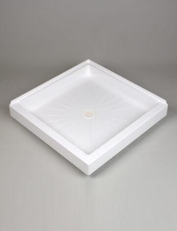 36″x 36″ Corner Shower Base, Double Threshold – White
