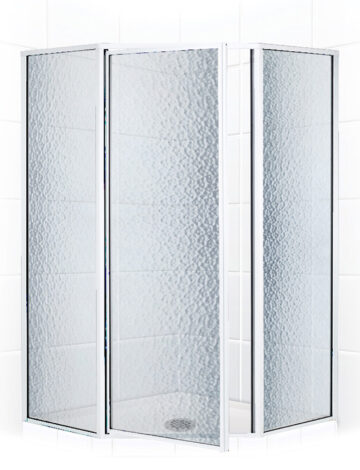 38″ Neo-Angle Shower Enclosure – Obscure Glass w/ Silver Trim