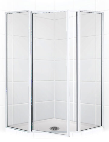 38″ Neo-Angle Shower Enclosure – Clear Glass w/ Silver Trim