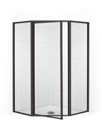 38″ Neo-Angle Shower Enclosure – Clear Glass w/ Black Bronze