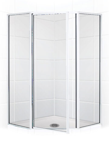 42″ Neo-Angle Shower Enclosure w/ Clear Glass & Silver Trim