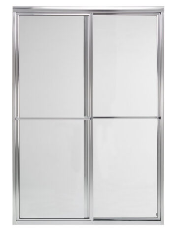 48″ By-Pass Shower Door w/ Clear Glass & Framed Silver Trim