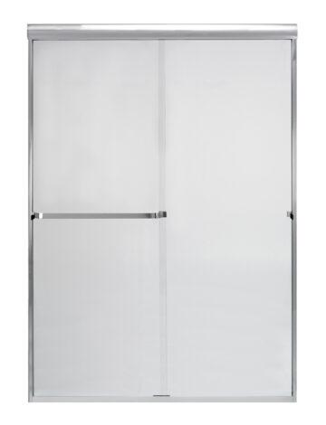 48″ By-Pass Shower Door w/ Clear Glass & Framless Silver Trim