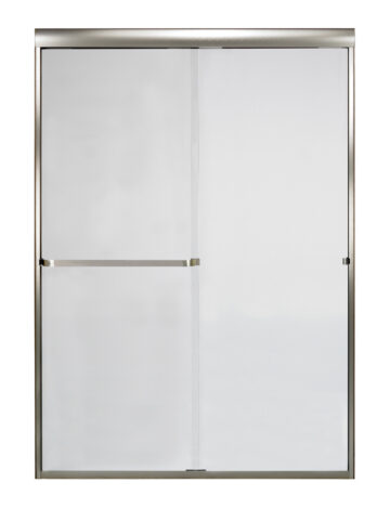 48″ By-Pass Shower Door w/ Clear Glass & Framless Brushed Nickel Trim