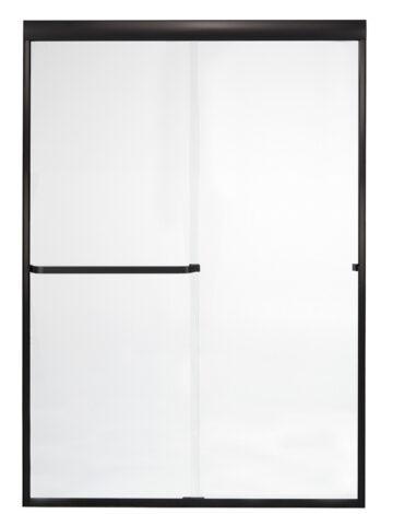 48″ By-Pass Shower Door w/ Clear Glass & Framless Black Bronze Trim