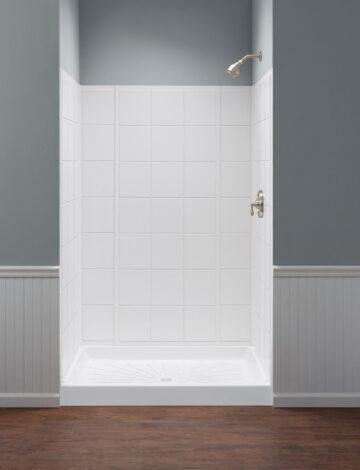 Bathtub or Shower Wall System –  White Tile Pattern, Fiberglass