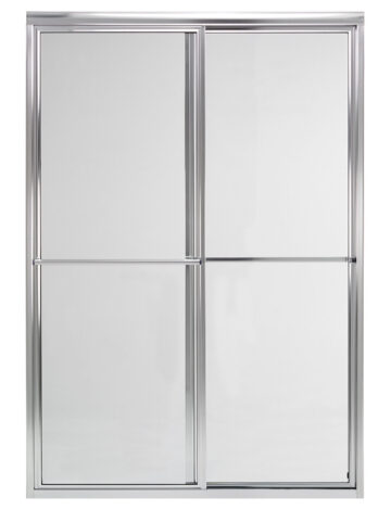 60″ By-Pass Shower Door w/ Clear Glass & Framed Silver Trim