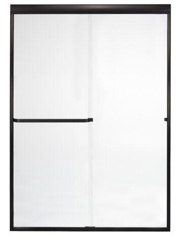 60″ By-Pass Shower Door w/ Clear Glass & Framless Black Bronze Trim