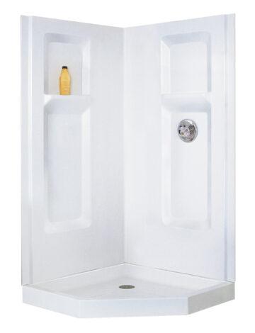 38″ Corner Shower Wall – White Fibreglass