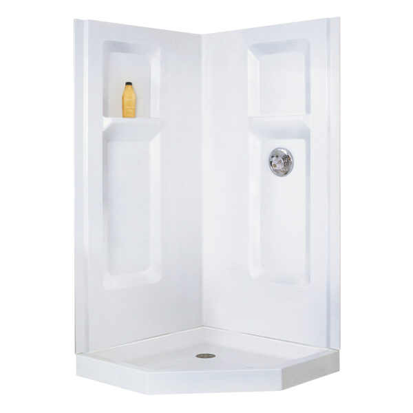 Mustee corner shower walls with molded shelving.