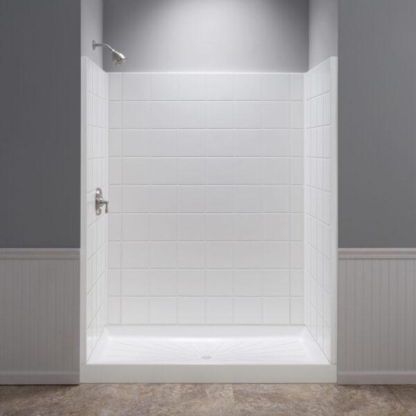 White rectangular shower wall.