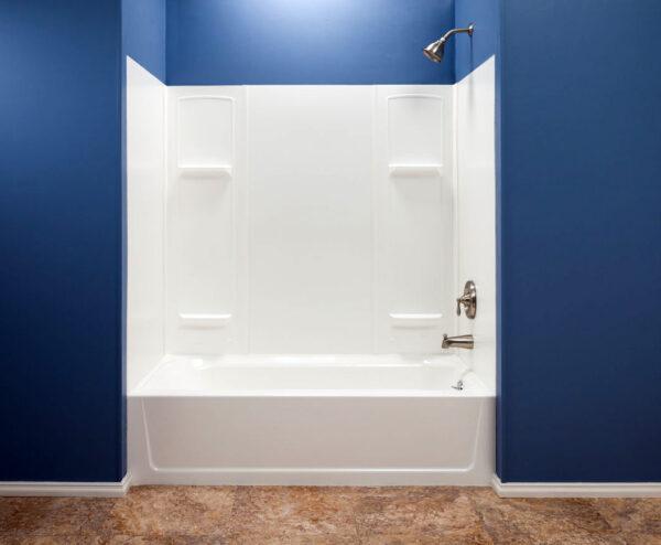 White thermoplastic bathtub wall system.
