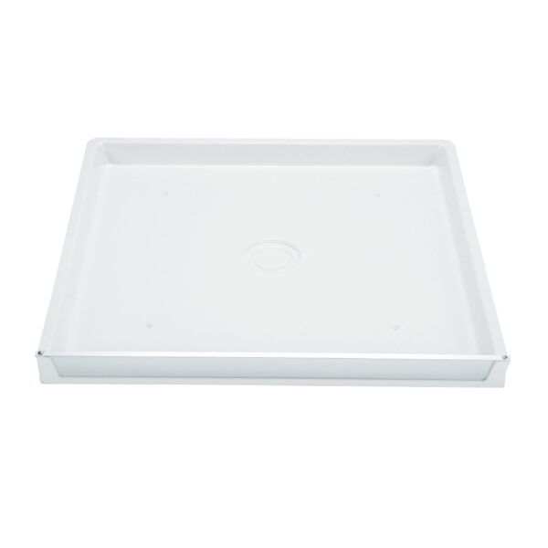 Fibreglass washer pan with side drain.