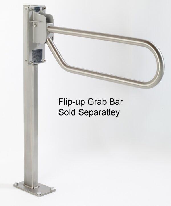 Support column for flip up grab bar.