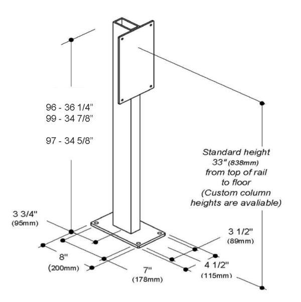 Diagram for support column for flip up grab bar.